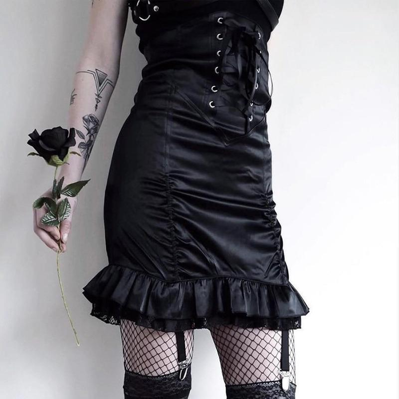 Ladies Vintage Black Lace Up Skirt-S-
