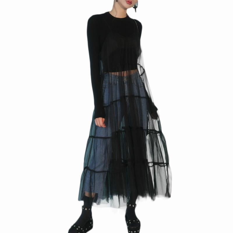 Ladies Vintage Mesh Skirt Long Dress - The Black Ravens