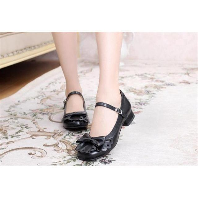 Ladies Vintage Style Bowtie Low Heel Shoes-Black-4-