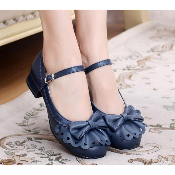 Ladies Vintage Style Bowtie Low Heel Shoes-Blue-4-