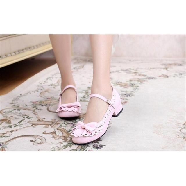Ladies Vintage Style Bowtie Low Heel Shoes-Pink-6-