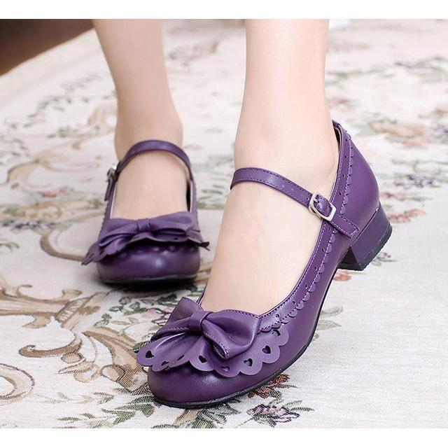 Ladies Vintage Style Bowtie Low Heel Shoes-Purple-4-