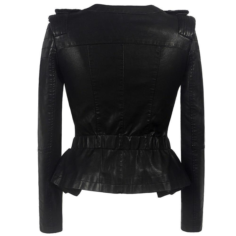Ladies Zippered Faux Leather Coat - The Black Ravens