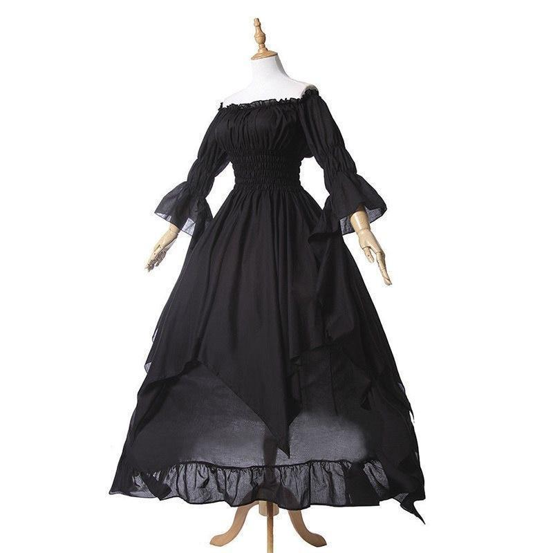 Large Size Women's Falbala Dress - The Black Ravens
