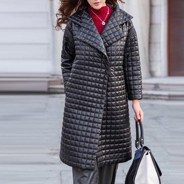 Leather Plaid Windbreaker Winter Coat-M-