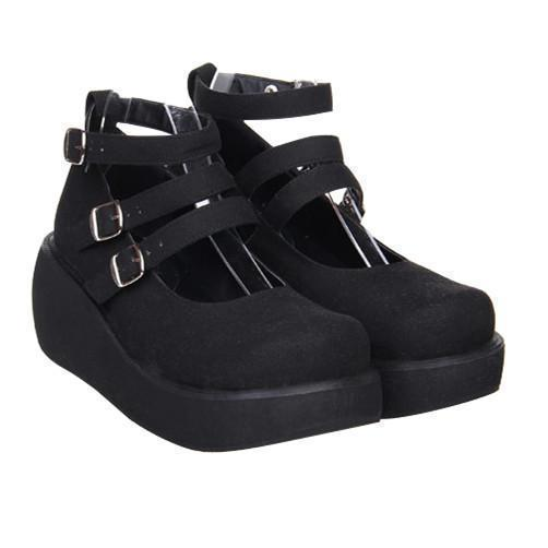 Lolita Girls Gothic Leather Wedge Shoes-Black Suede-5-