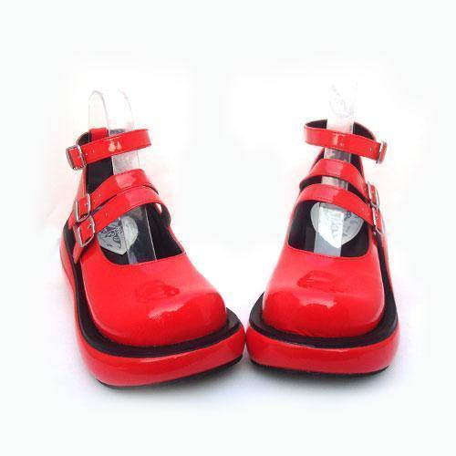 Lolita Girls Gothic Leather Wedge Shoes-Red-5-