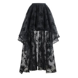 Long Back Floral Lace Beach Skirt - Includes Plus Size-Black-S-