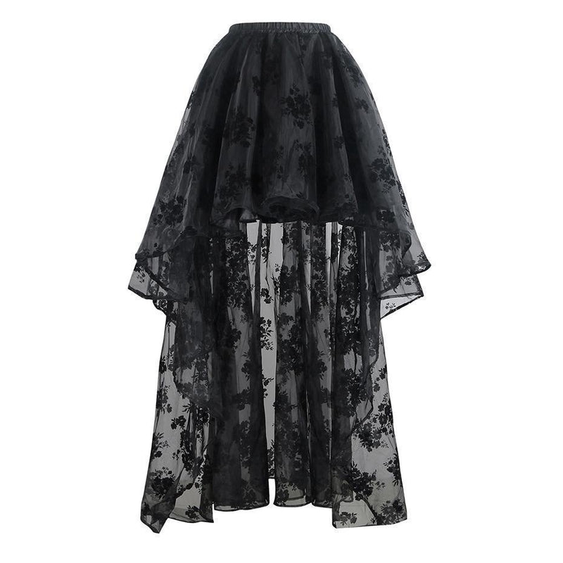 Long Back Floral Lace Beach Skirt - Includes Plus Size - The Black Ravens