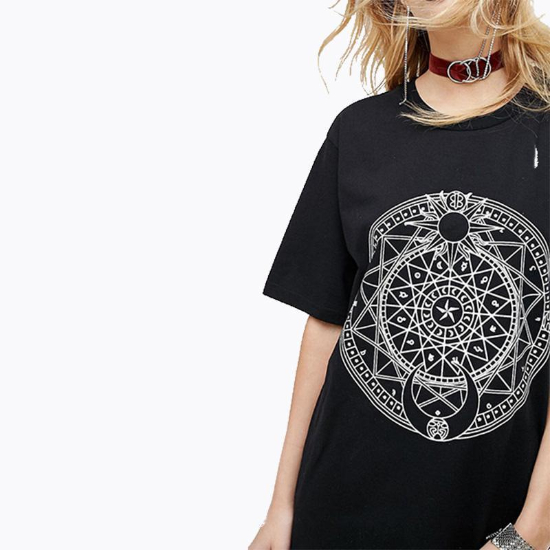 Long Gothic Moon & Sun Symbol Dress Tees - The Black Ravens