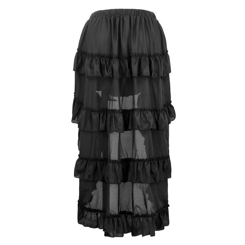 Long Lace-Up Zipper Vintage Ball Gown Skirts-Black-S-
