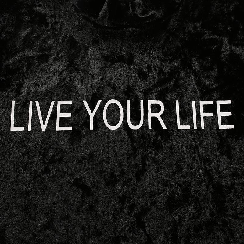 Long Sleeved 'Live Your Life' Tee-Black-0 - XS-