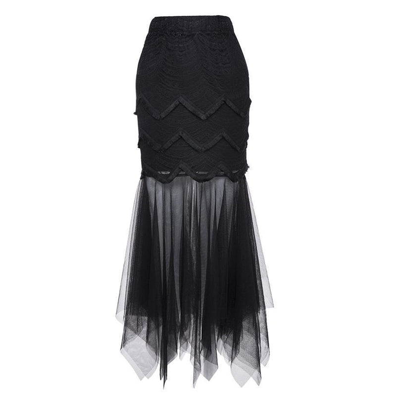 Long Trumpet Mesh Skirts For Women - The Black Ravens