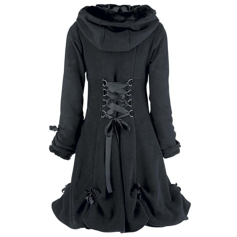Long Vintage Black Fur Gothic Trench Coat-Black-M-