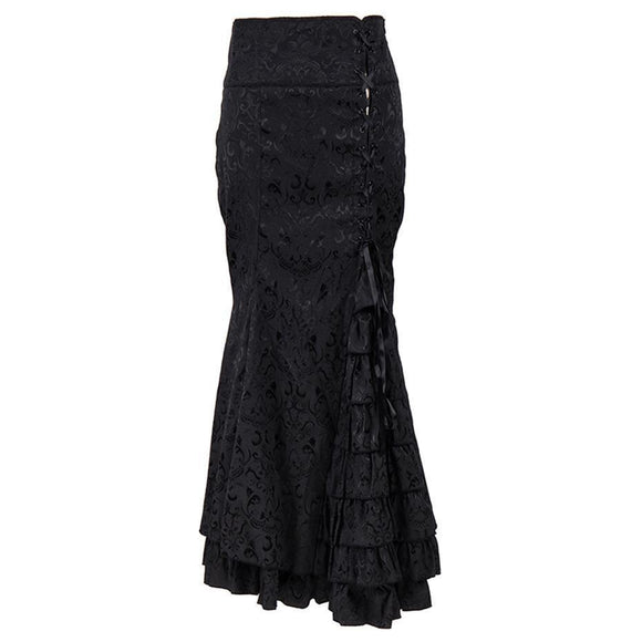 Long Vintage Style Patchwork Trumpet Skirts - Includes Plus Size-Black-S-