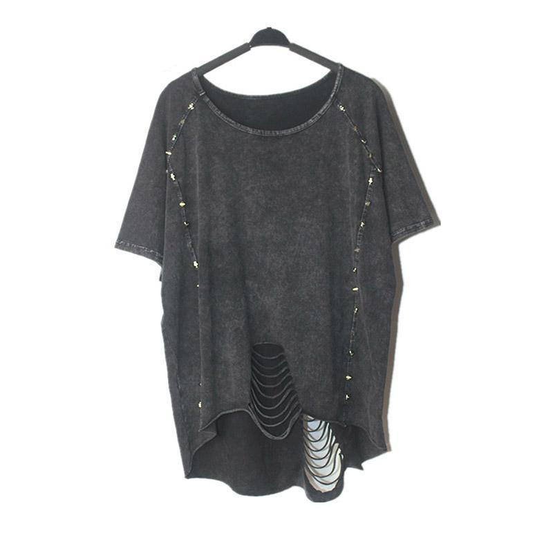 Loose Baggy Casual Rocker T-Shirt - The Black Ravens