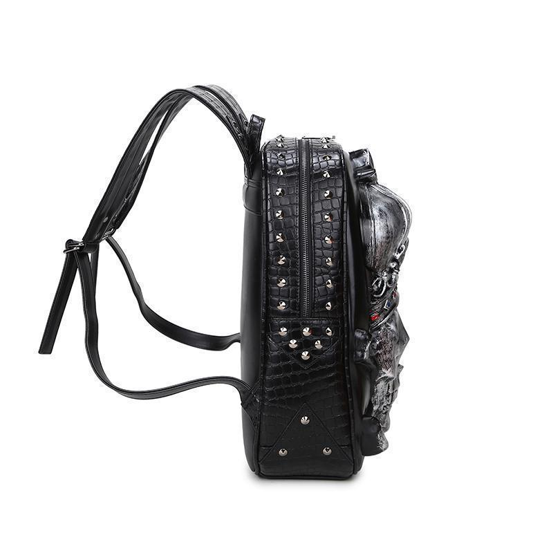 Male and Female Black 3D Gothic Skeleton Head Rucksack - The Black Ravens