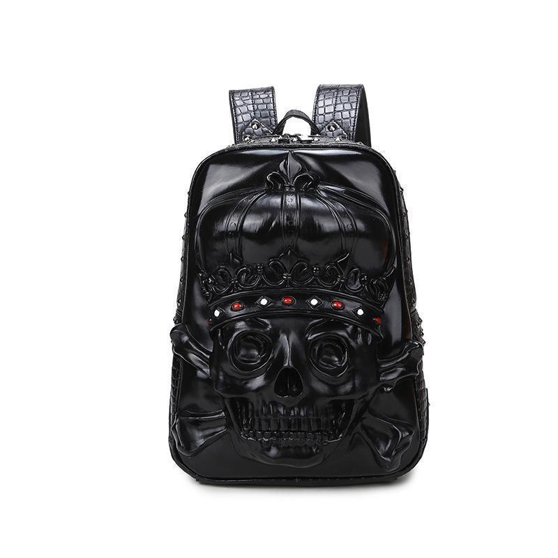 Male And Female Black 3D Gothic Skeleton Head Rucksack-Black-