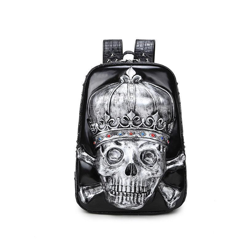 Male And Female Black 3D Gothic Skeleton Head Rucksack-Gold-