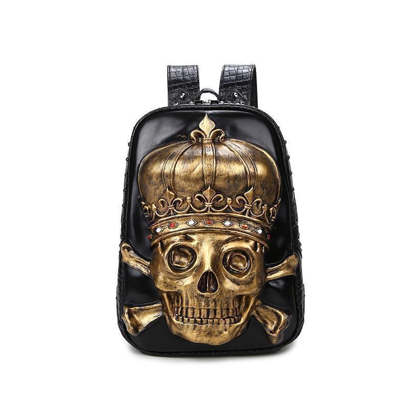 Male And Female Black 3D Gothic Skeleton Head Rucksack-Silver-