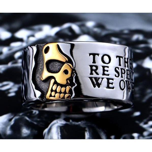 Men's Badass Bikers Stainless Steel Skeleton Rings-7-Gold-