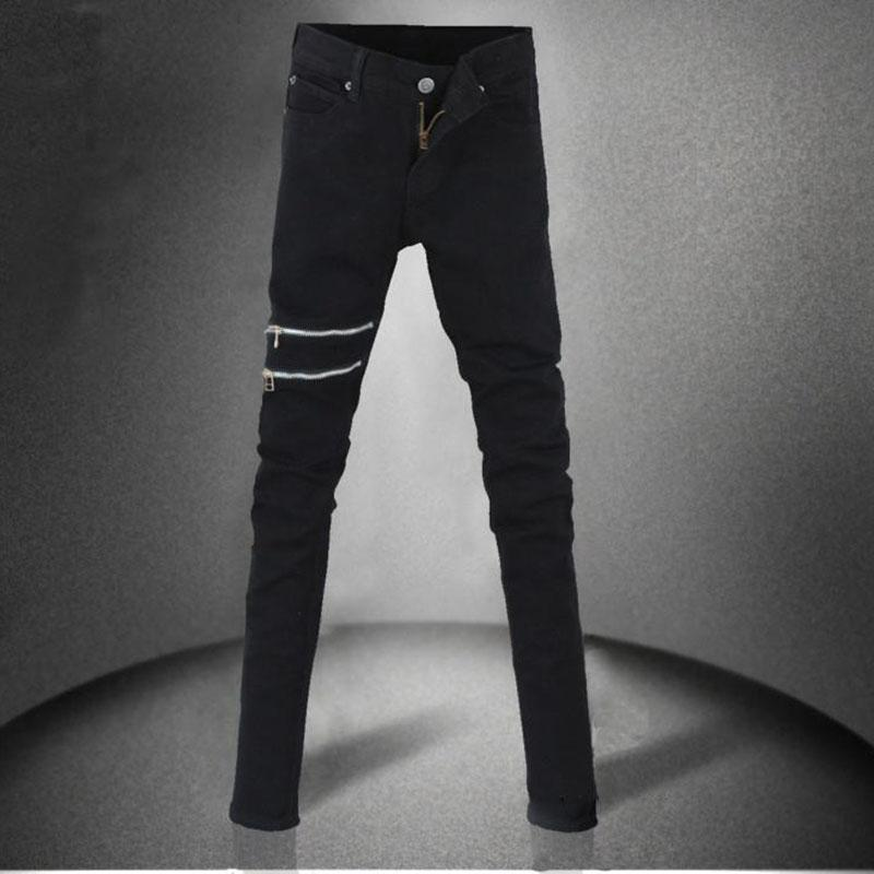 Men`s Black Gothic Super Skinny Pencil Pants-Black-25-