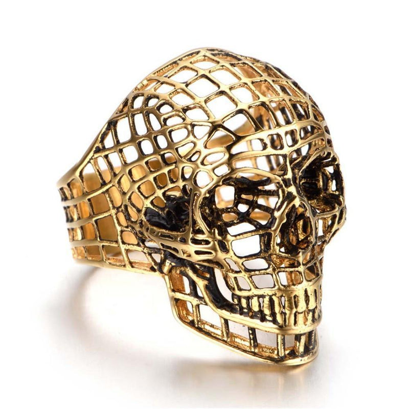 Men's Cool Golden Stainless Steel Skeleton Head Rings - The Black Ravens