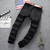 Mens Designer Black Ripped Skinny Jeans-Black-27-
