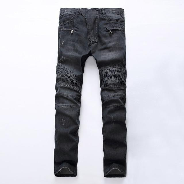 Men's Distressed Biker Jeans For Guys Men-Black-28-