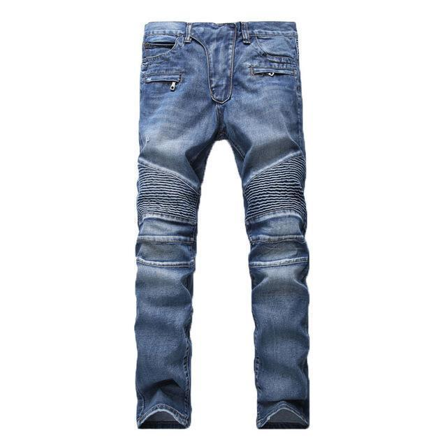 Men's Distressed Biker Jeans For Guys Men-Blue-28-