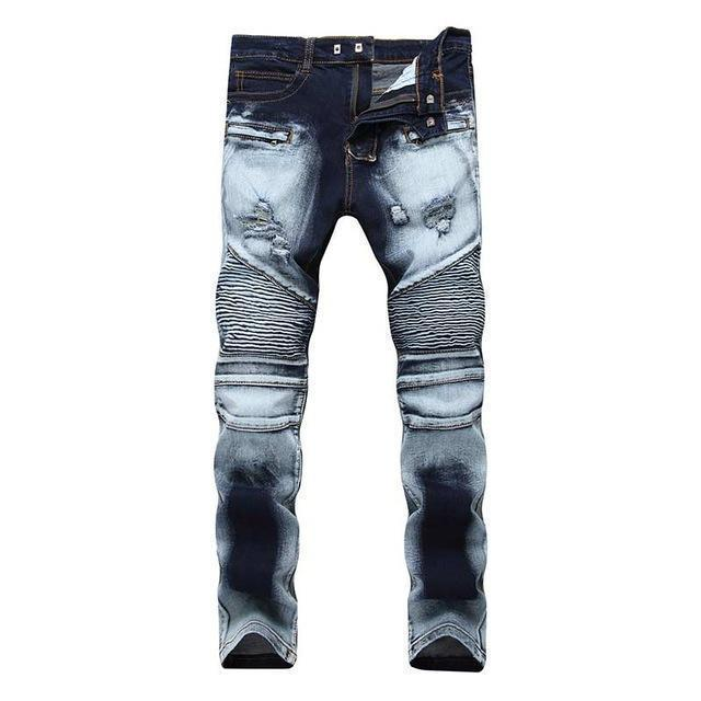 Men's Distressed Biker Jeans For Guys Men-Darkblue-28-