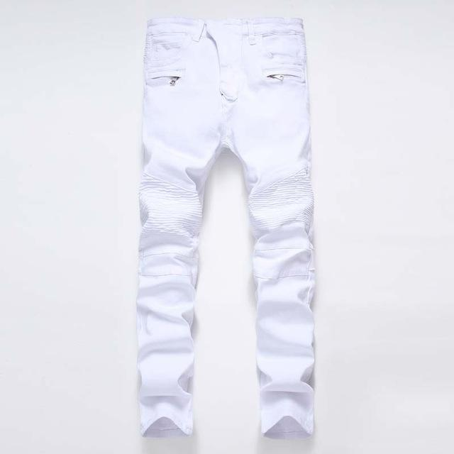Men's Distressed Biker Jeans For Guys Men-White-28-