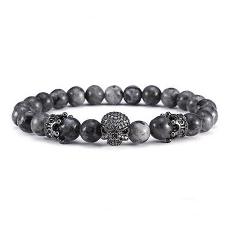 Badass Men's Silver And Black Cow Hide Bracelet