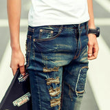 Men's Patchwork Rock And Roll Denim Pants For Men-Dark Blue-27-