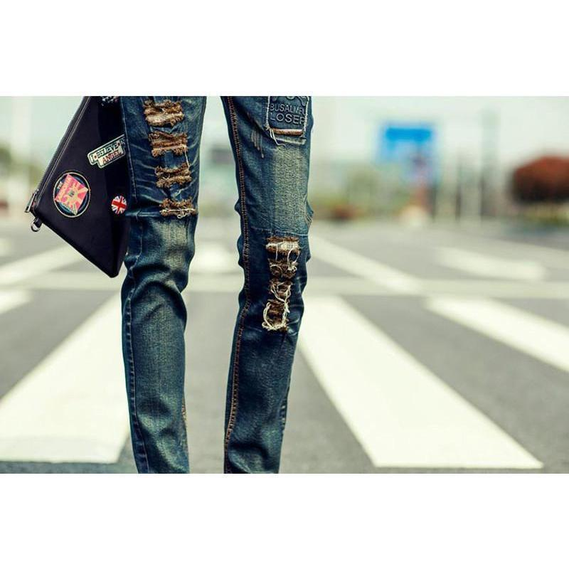 Men's Patchwork Rock and Roll Denim Pants For Men - The Black Ravens