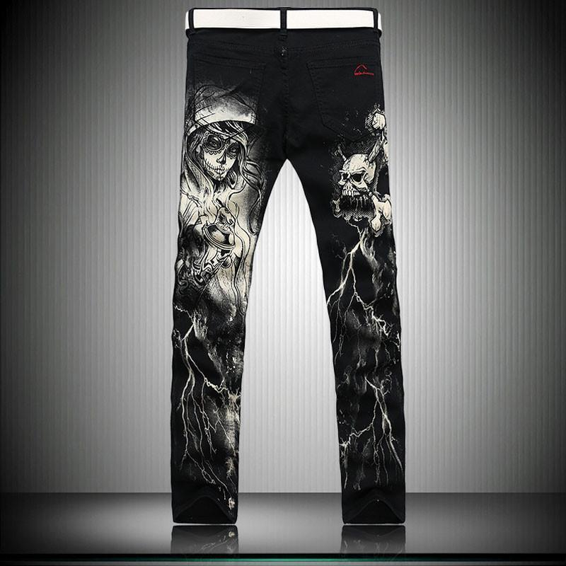 Men`s Printed Gothic Design Cotton Straight Leg Jeans - The Black Ravens