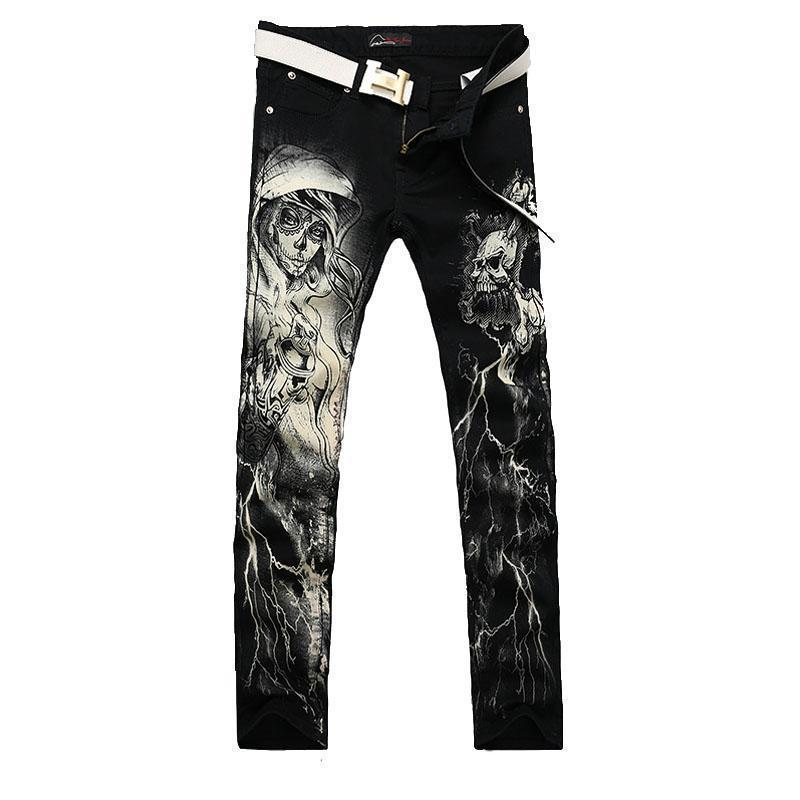 Men`s Printed Gothic Design Cotton Straight Leg Jeans-Black-28-