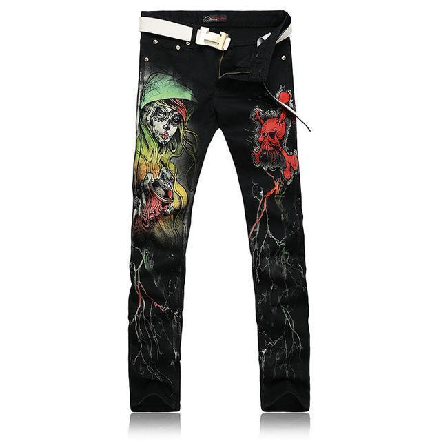Men`s Printed Gothic Design Cotton Straight Leg Jeans-Red-28-