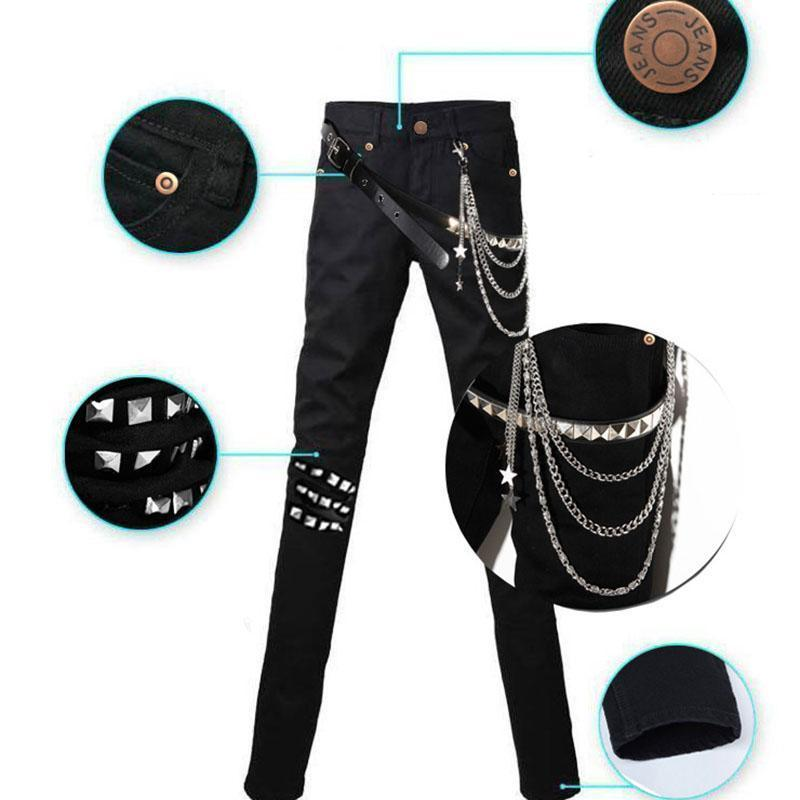 Men`s Punk Style Gothic Jeans With A Chain - The Black Ravens