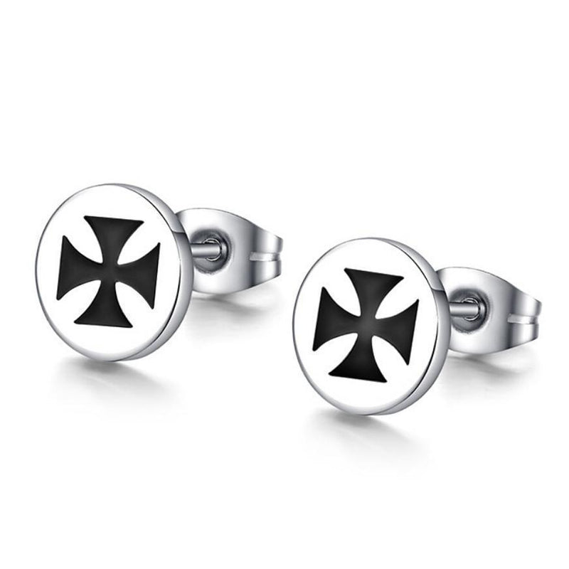 Men's Silver Ancient Symbol Earrings-
