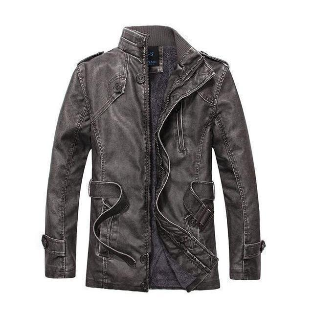 Men's Thick Leather And Suede Fleece Jacket-Black-L-