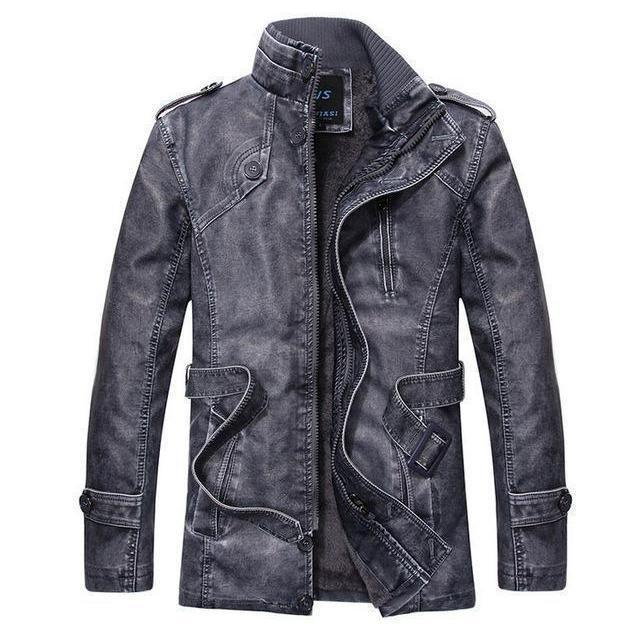 Men's Thick Leather and Suede Fleece Jacket - The Black Ravens