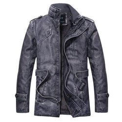 Men's Thick Leather And Suede Fleece Jacket-Blue-L-