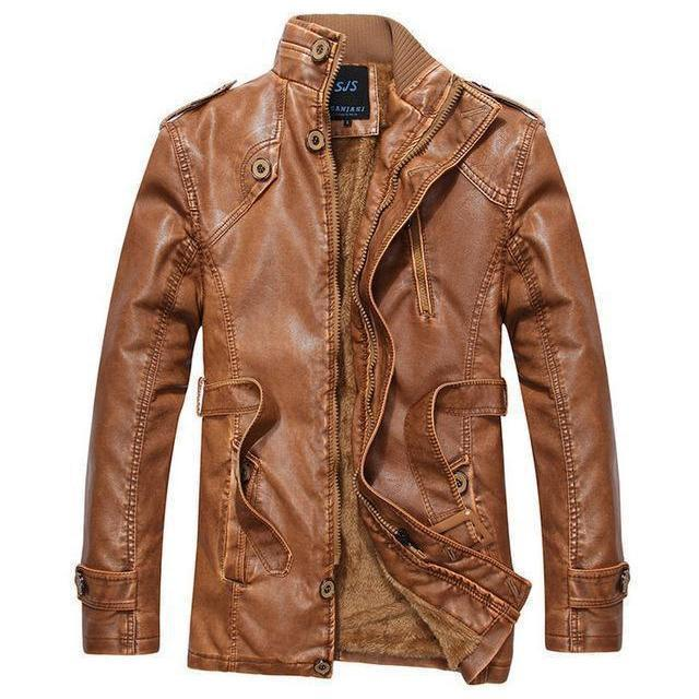 Men's Thick Leather And Suede Fleece Jacket-Brown-L-