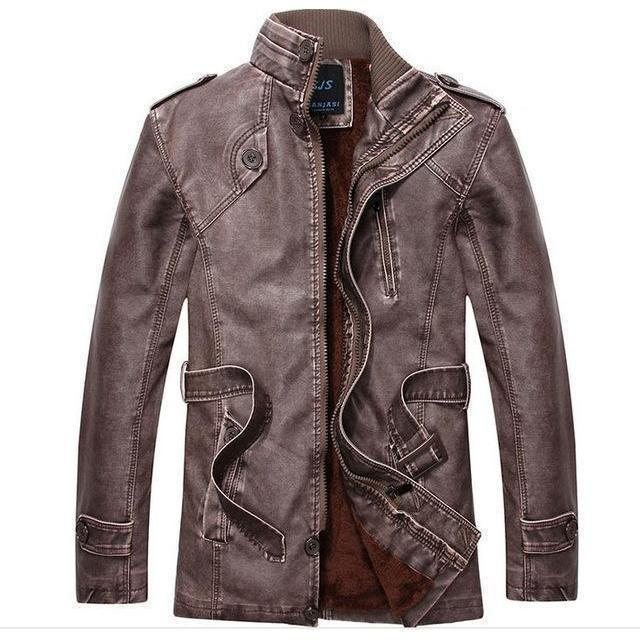 Men's Thick Leather And Suede Fleece Jacket-Coffee-L-