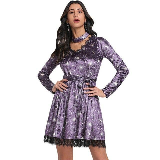 Midnight Sky Ladies' Fashion Dress - The Black Ravens