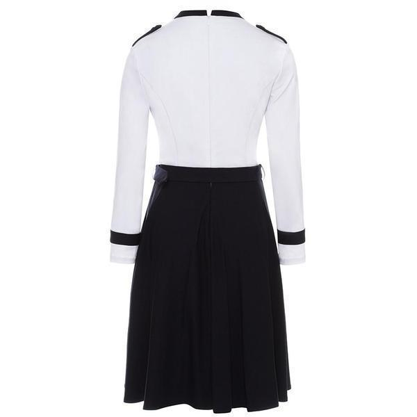 Military Retro Fashion Women's Dress-S-