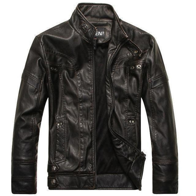 Motorcycle Leather Jacket For Men-Black-M-