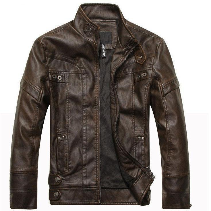 Motorcycle Leather Jacket For Men-Brown-M-