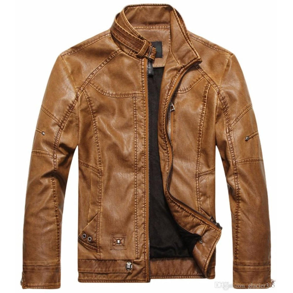 Motorcycle Leather Jacket For Men-Light Brown-M-